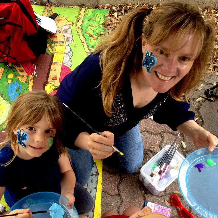 Shauna paints faces at Canning Bridge Arts Markets