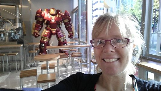 Shauna with Iron Man at the Four B Bagel in Seoul